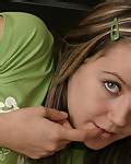 Cute amateur teen Andi Pink in green sweater from Andi Pink